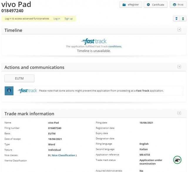 Vivo Pad registrado com EUIPO