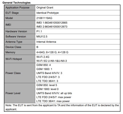 Redmi 10 (21061119AG) details found in FCC documentation