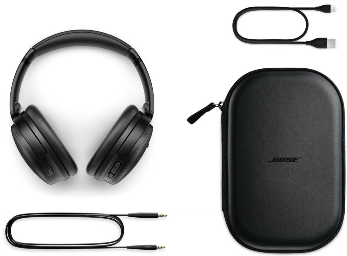 Paket ritel Bose QC45 akan mencakup kabel pengisi daya USB A-to-C, kabel audio, dan tas jinjing