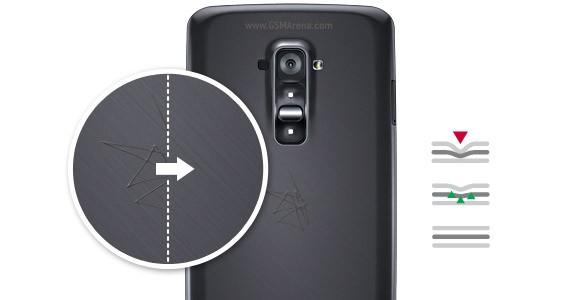 Permukaan LG G Flex bisa menyembuhkan goresan yang dangkal, goresan yang lebih dalam meninggalkan bekas