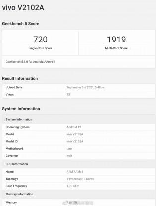 GeekBench listing