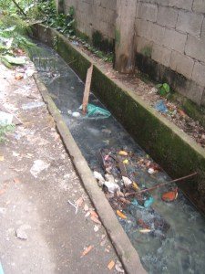 Open sewer of non-functioning latrines at Iligan Central Elementary School in 2012