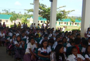 High school students watched attentively during the brief ceremony donating the used computers to the high school in Giporlos Samar