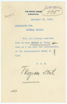 FDR to General Watson, 1939
