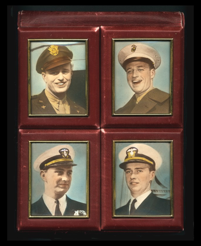 Four separate photos of men in uniforms within a leather frame