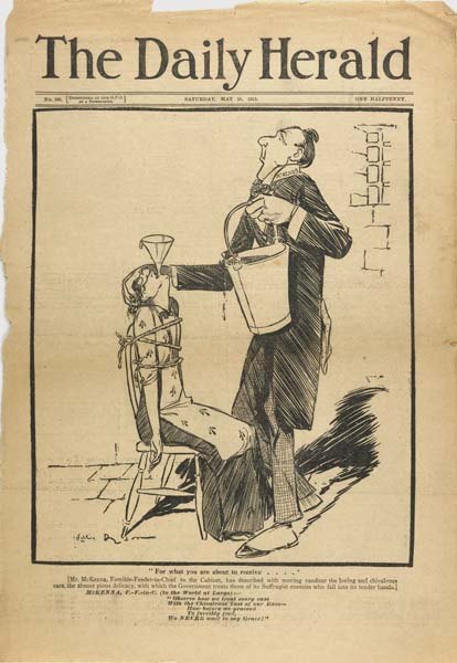 The Daily Herald, 24 May 1913. On the front cover is a cartoon by Will Dyson showing a hunger striking suffragette being forcibly fed