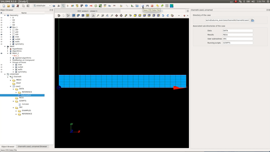 Salome CFD Tutorial 1] Simulating a simple 2D channel flow