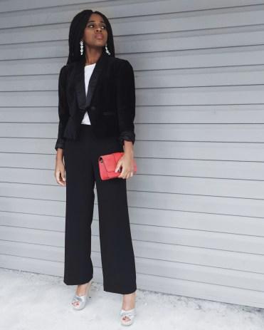 white t-shirt, black blazer, black dress pants, silver heels, red purse