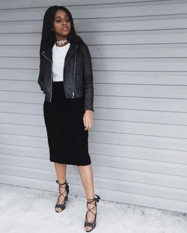 white t-shirt, black leather jacket, black velvet midi skirt, black lace up heels, black diamond choker necklace