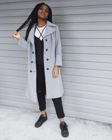 white t-shirt, black destroyed boyfriend jeans, black adidas, black and white gingham print trench coat