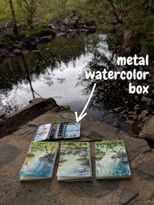 Metal watercolor box for plein air