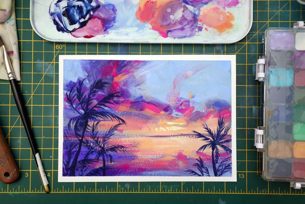 Bold sunset gouache painting