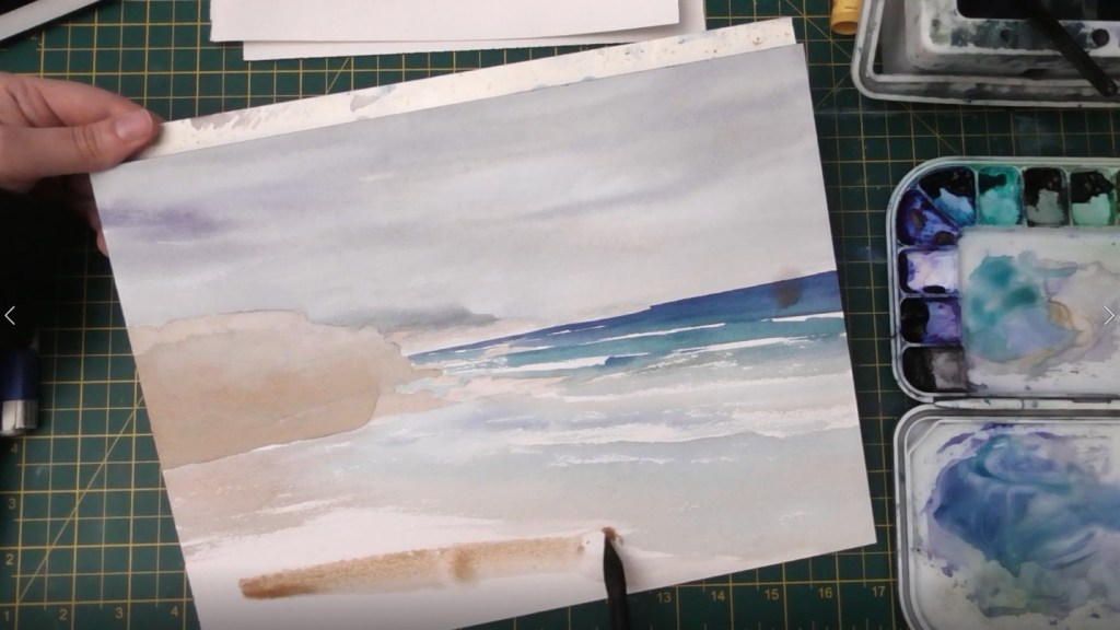 Beach with Wet Sand Watercolor tutorial step 5