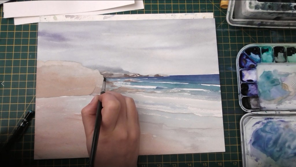Beach with Wet Sand Watercolor tutorial step 6