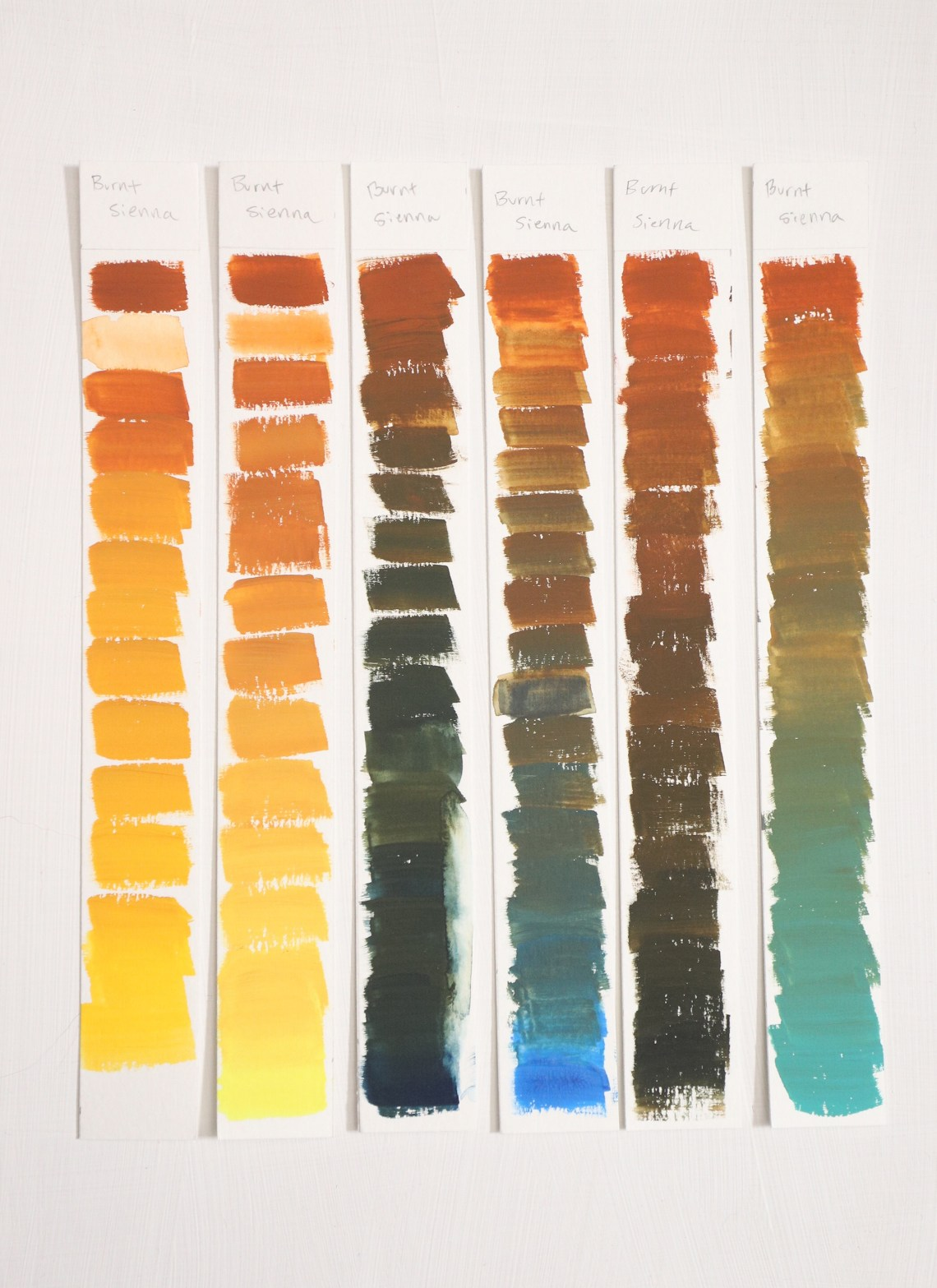 Burnt Sienna Gouache mixing chart