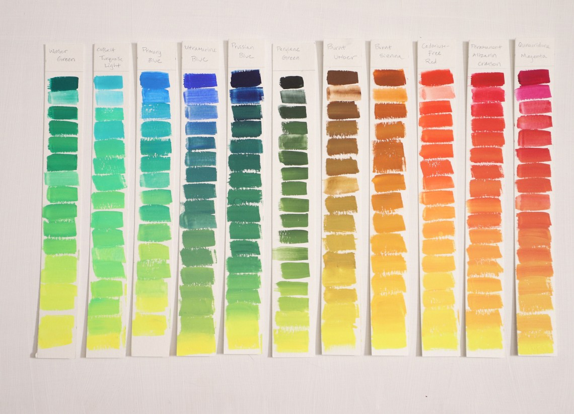 Cadmium-free lemon yellow Gouache mixing chart