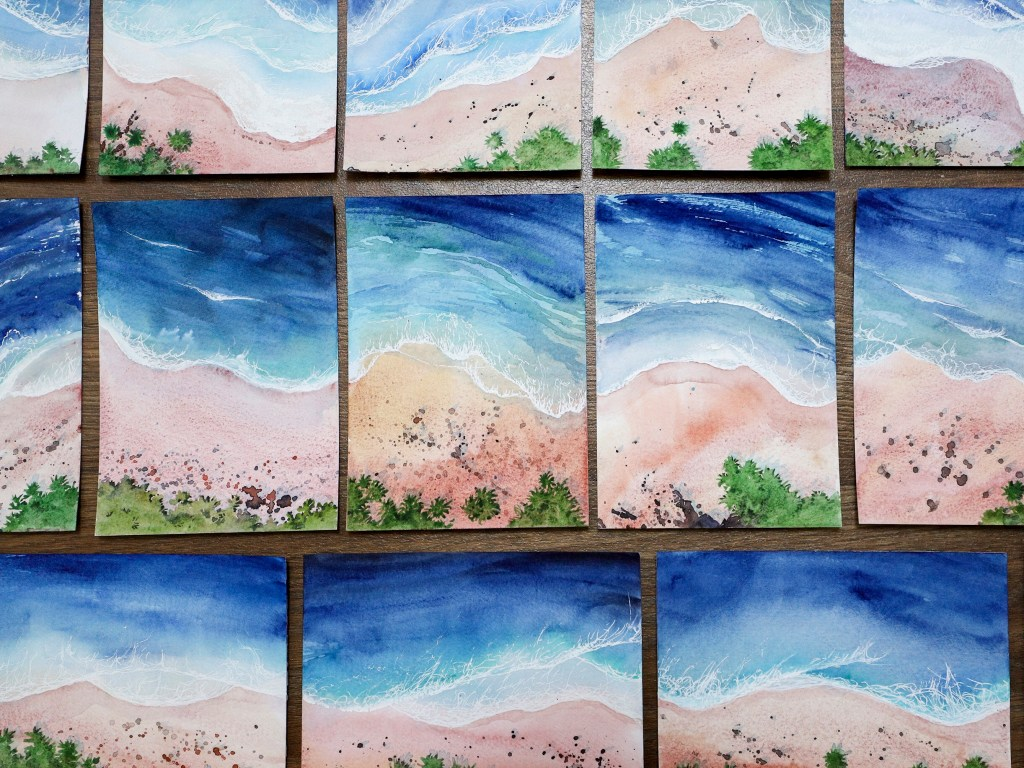 Watercolor seascapes from above