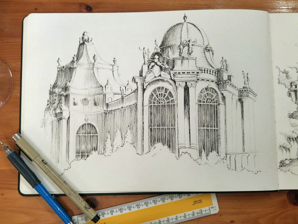 Budapest architecture ink drawing