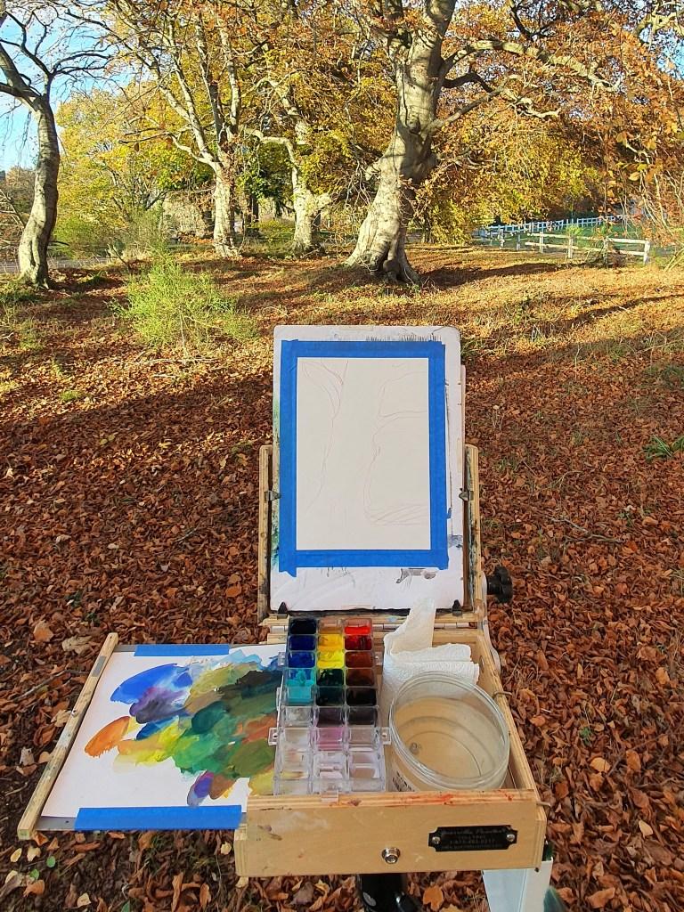 Plein air setup to paint gouache trees