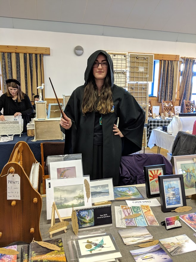 2018, my first time selling art in public (Poolewe Tuesday Market, Scotland)