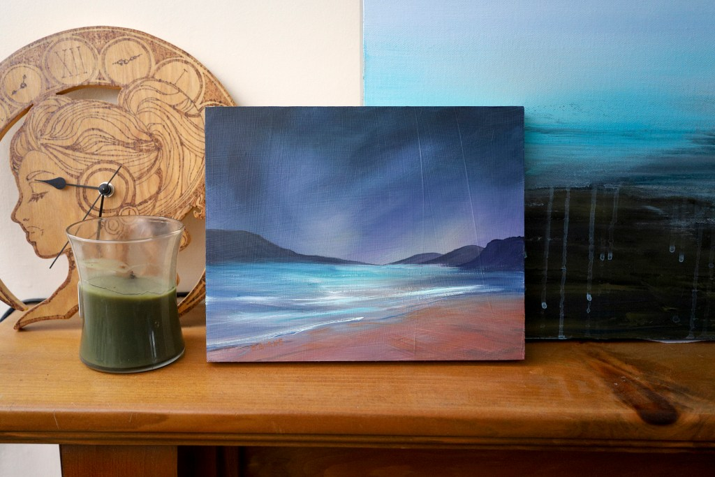 Seascape painted with gouache on cradled panel.