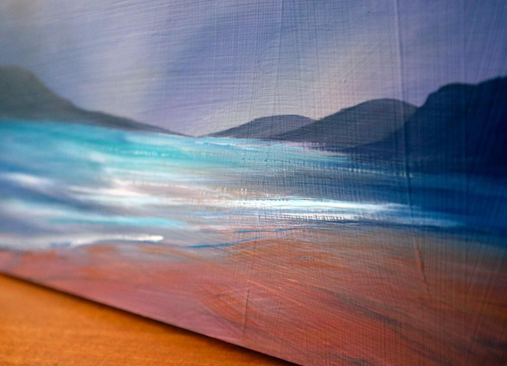 Closeup of gouache texture on wooden board