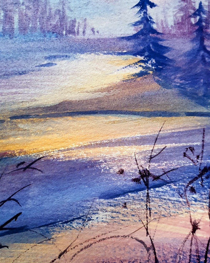 Closeup of a snowy landscape at sunset (gouache painting)