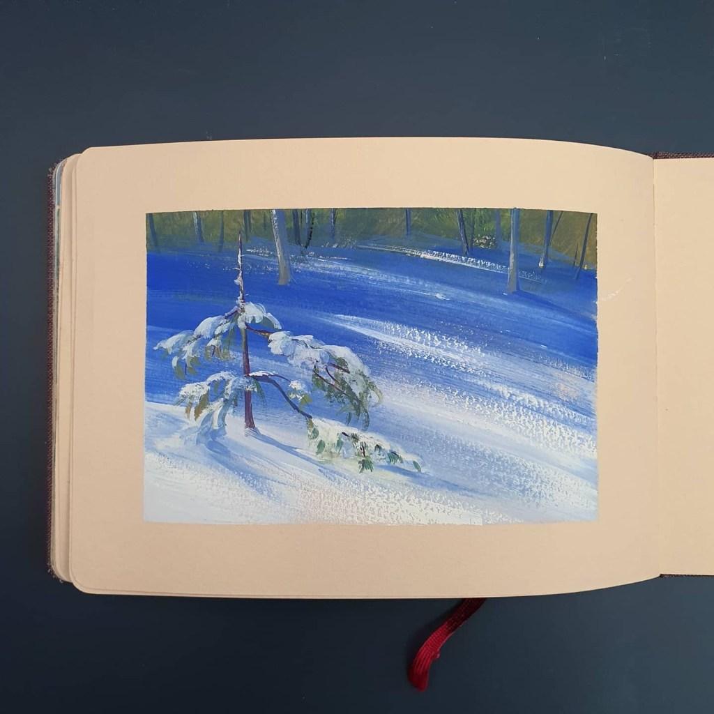 Gouache snowscape painting