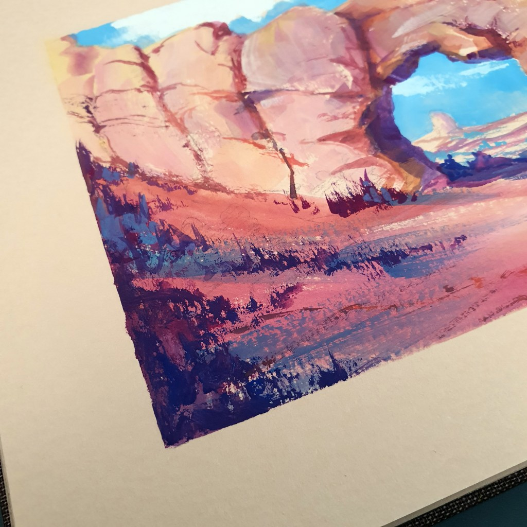 Closeup of canyon arch in gouache