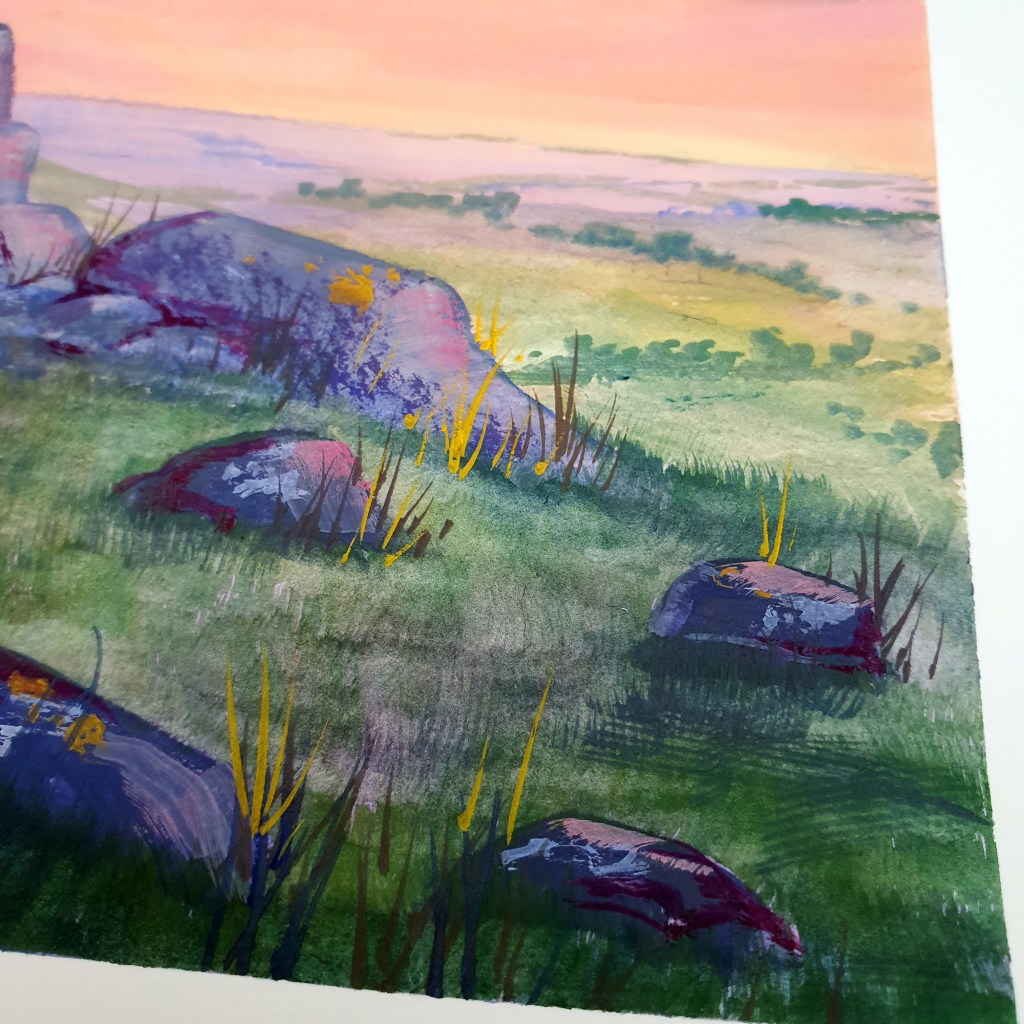 Closeup of rocky fields gouache landscape