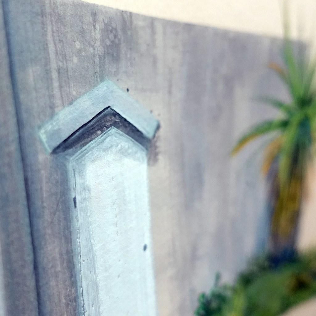 Closeup of door painting with gouache