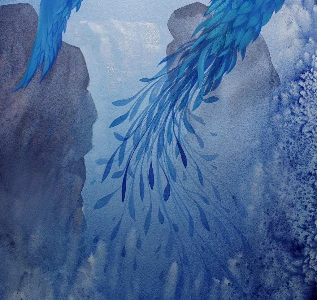 Water phoenix painting with gouache and watercolor