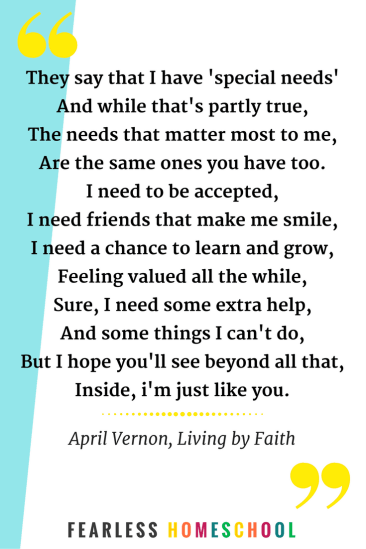 Special Needs poem by April Vernon, featured on Fearless Homeschool