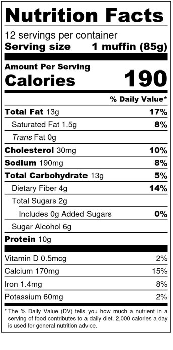 Lemon Blueberry Muffins - Nutrition Label