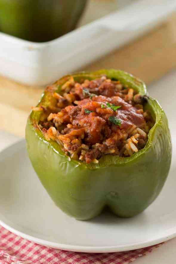 cheap meal ideas, cheap dinner recipes, classic stuffed peppers