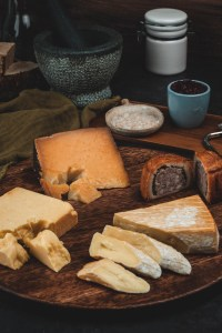 Cheese board with Pork Pie (Smoked Manchego, Smoked Cheddar, Smoked Brie, Smoked Pork Pie)
