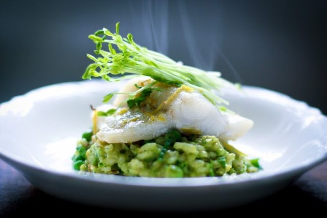 Spring Pea Risotto with Halibut | www.feastingathome.com