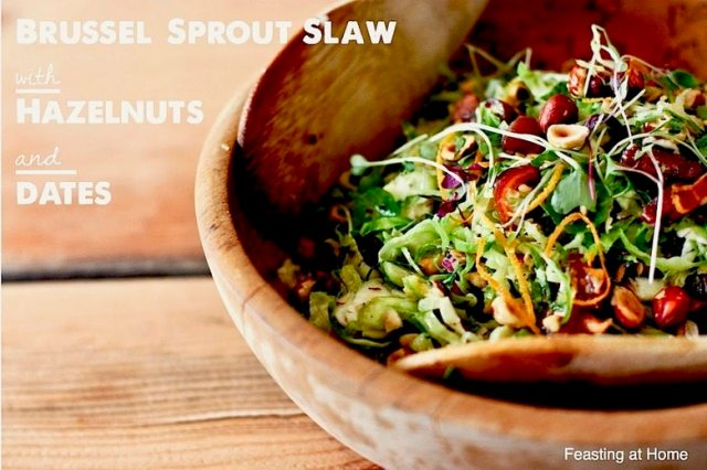 A simple tasty recipe for raw Brussel Sprout Salad with Hazelnuts and dates, vegan, healthy and a great combination of flavors. | www.feastingathome.com
