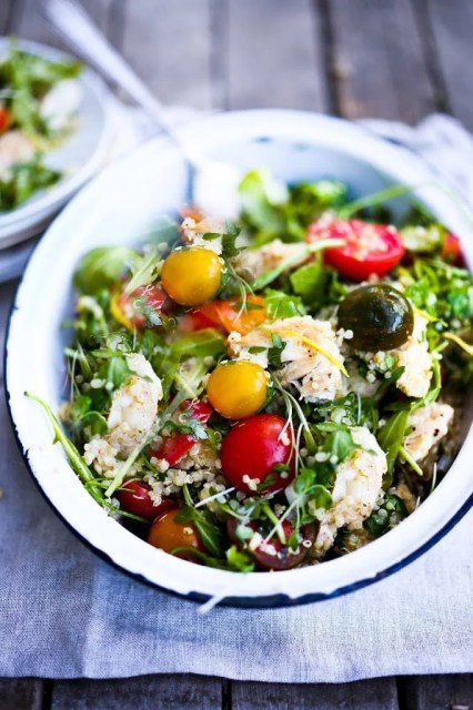 Zesty Quinoa Salad with Chicken, Chickpeas, Tomatoes and ...