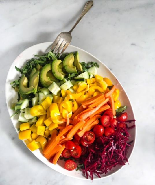 Simple,tasty Rainbow Salad with Creamy Dill Dressing, loaded up with fresh grated beets, radishes, carrots, cucumber & whatever seasonal veggies you like.| www.feastingathome.com