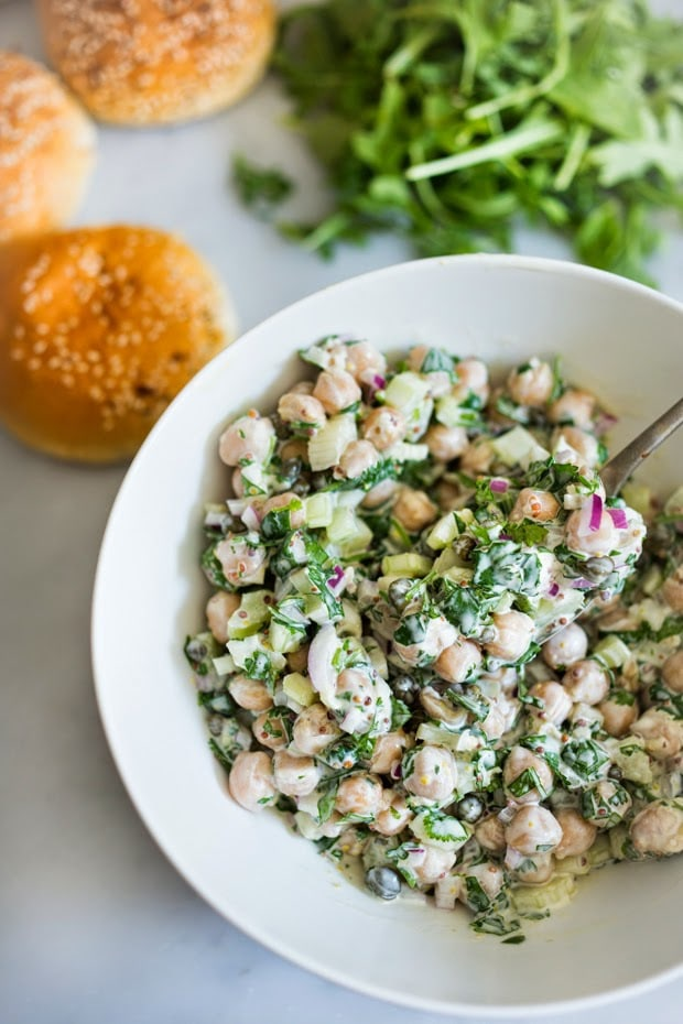 EASY Vegan Chickpea Salad with fresh herbs, capers and arugula...so delicious! | www.feastingathome.com