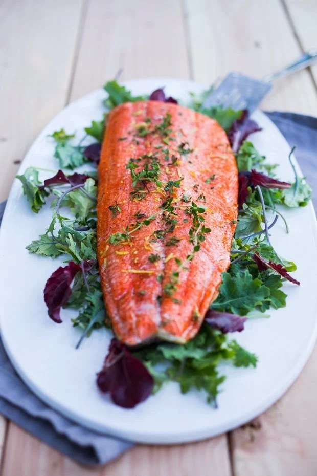 Pickled huckleberries make this Grilled Huckleberry Salmon recipe a winner. Served atop Grilled salmon, this is a true Northwest inspired summer meal. Gluten free, healthy!