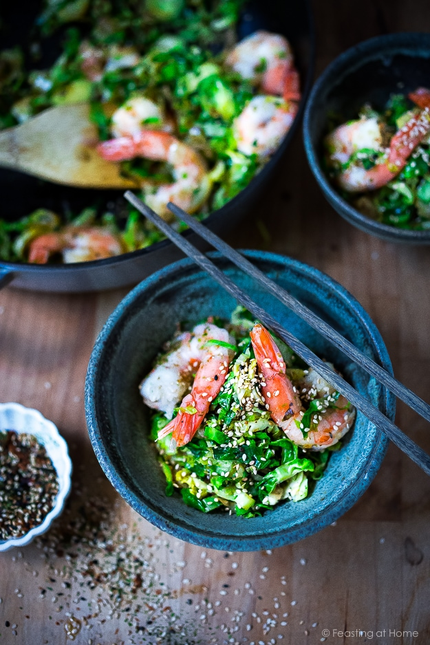 A simple healthy dinner- Brussel Sprouts and Shrimp with Furikake, a flavorful Japanese seasoning |www.feastingathome.com