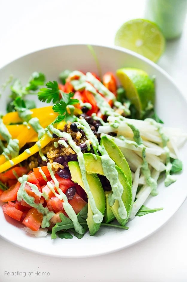 Veggie Burrito Bowl w/ creamy (vegan) cilantro sauce GF | www.feastingathome.com