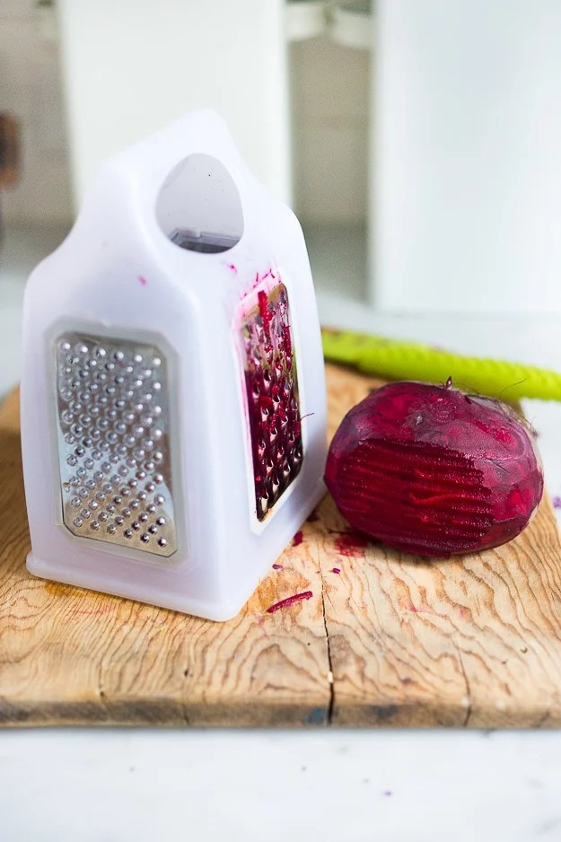 Beet and Cabbage Sauerkraut- an easy small batch recipe that can be made in a mason jar. | www.feastingathome.com