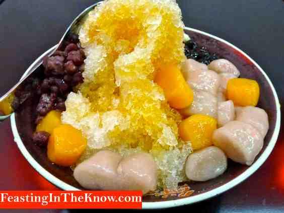Taro mochi, sweet potato mochi, red bean, pearls and peanut shaved ice