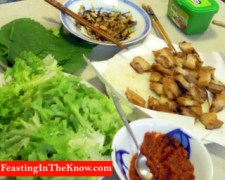 Ssamgyeopsal party with our Korean student at home.