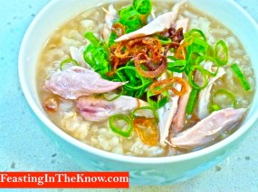 Congee flavoured with duck broth