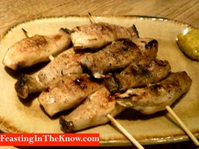 Grilled baby king mushrooms