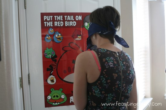 Put the tail on the red bird for Angry Birds Birthday Party